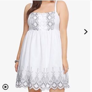 Torrid white and grey embroidered dress